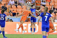 Houston, TX - Wednesday June 28, 2017: Christen Westphal heads the ball over Rachel Daly during a regular season National Women's Soccer League (NWSL) match between the Houston Dash and the Boston Breakers at BBVA Compass Stadium.