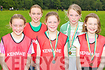 Kenmare runners l-r: Emer O'Sullivan, Lauren Turner, Kathlyn Moriarty, Cara Daly and Caoimhe Daly who competed at the Kerry Cross Country championships in Killarney on Sunday..