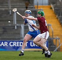 2nd February 2020; TEG Cusack Park, Mullingar, Westmeath, Ireland; Allianz Division 1 Hurling, Westmeath versus Waterford; Stephen Bennett (Waterford) strikes the ball under pressure from John Gilligan (Westmeath)