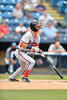 Rome Braves Drew Campbell (20) swings at a pitch during a game against the Asheville Tourists at McCormick Field on July 18, 2019 in Asheville, North Carolina. The Tourists defeated the Braves 4-3. (Tony Farlow/Four Seam Images)