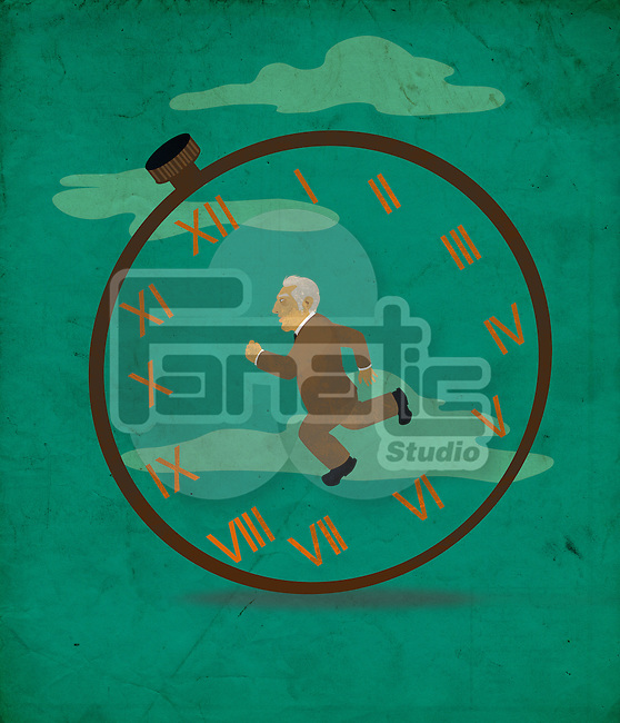 Illustration of senior businessman representing concept of retirement