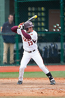 Miguel Ceballos (13) of the Virginia Tech Hokies at bat against the Toledo Rockets at The Ripken Experience on February 28, 2015 in Myrtle Beach, South Carolina.  The Hokies defeated the Rockets 1-0 in 10 innings.  (Brian Westerholt/Four Seam Images)