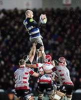 Matt Garvey of Bath Rugby wins the ball at a lineout. Aviva Premiership match, between Gloucester Rugby and Bath Rugby on March 26, 2016 at Kingsholm Stadium in Gloucester, England. Photo by: Patrick Khachfe / Onside Images