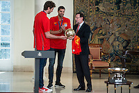 The reception of Prime Minister Mariano Rajoy to Spain national basketball team gold at EuroBasket 2015 at Moncloa Palace in Madrid, 21 September, 2015.<br /> Pau Gasol delivers Golden Ball to Prime Minister Mariano Rajoy.<br /> (ALTERPHOTOS/BorjaB.Hojas) /NortePhoto.com