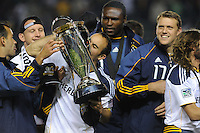 Los Angeles Galaxy's London Donovan kisses trophy after beating the Houston Dynamo 1-0 in the MLS Cup at the Home Depot Center. Los Angeles Galaxy 1-0 over the Dynamo USA, Sunday, Nov. 20. 20011, in Carson, California. Photo by Matt A. Brown/isiphotos.com