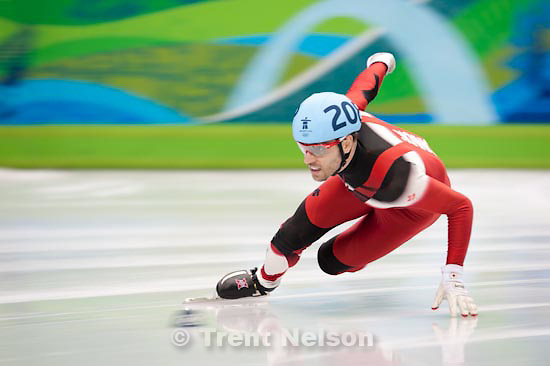 Trent Nelson  |  The Salt Lake Tribune.Men's 500m Quarterfinals, Short Track Speed Skating at the Pacific Coliseum Vancouver, XXI Olympic Winter Games, Friday, February 26, 2010. Francois-Louis Tremblay (Canada)
