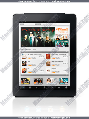 Apple iPad 3G tablet with iTunes online store on its display isolated on white background with clipping path