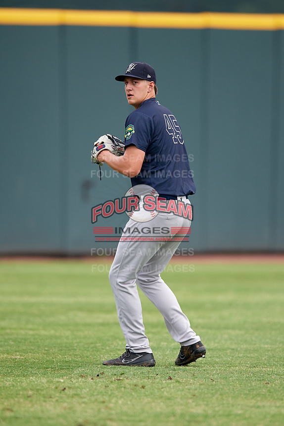 Pulaski Yankees pitcher Daniel Bies (45) warms up before a game against the Greeneville Reds on July 27, 2018 at Pioneer Park in Tusculum, Tennessee.  Greeneville defeated Pulaski 3-2.  (Mike Janes/Four Seam Images)
