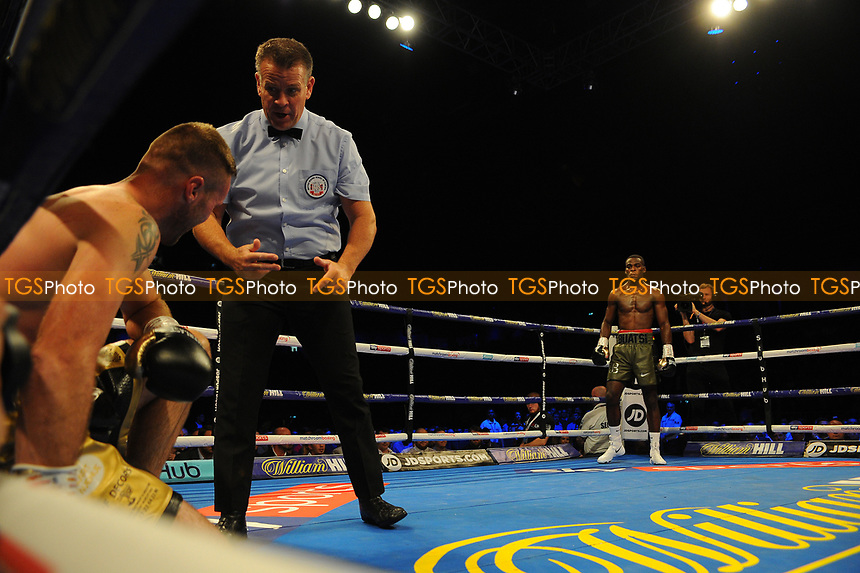 Joshua Buatsi deafens Tony Averlant during a Boxing Show at the Metro Radio Arena on 13th October 2018