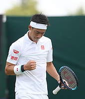 Kei Nishikori (JPN) celebrates during his match against Thiago Monteiro (BRA) in their Gentleman's Singles First Round match<br /> <br /> Photographer Rob Newell/CameraSport<br /> <br /> Wimbledon Lawn Tennis Championships - Day 2 - Tuesday 2nd July 2019 -  All England Lawn Tennis and Croquet Club - Wimbledon - London - England<br /> <br /> World Copyright © 2019 CameraSport. All rights reserved. 43 Linden Ave. Countesthorpe. Leicester. England. LE8 5PG - Tel: +44 (0) 116 277 4147 - admin@camerasport.com - www.camerasport.com