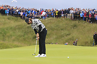 Tommy Fleetwood (ENG) putts on the 15th green during Sunday's Final Round of the 148th Open Championship, Royal Portrush Golf Club, Portrush, County Antrim, Northern Ireland. 21/07/2019.<br /> Picture Eoin Clarke / Golffile.ie<br /> <br /> All photo usage must carry mandatory copyright credit (© Golffile | Eoin Clarke)