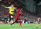 17th March 2018, Anfield, Liverpool, England; EPL Premier League football, Liverpool versus Watford; Sadio Mane of Liverpool attacks the Watford penalty area after taking on Sebastian Prodl of Watford