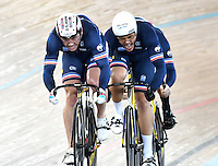 CALI – COLOMBIA – 17-02-2017: Equipo de Francia, durante prueba de persecución por equipos varones en el Velodromo Alcides Nieto Patiño, sede de la III Valida de la Copa Mundo UCI de Pista de Cali 2017. / Team from France, during a Men´s Teams Pursuit test at the Alcides Nieto Patiño Velodrome, home of the III Valid of the World Cup UCI de Cali Track 2017. Photo: VizzorImage / Luis Ramirez / Staff.