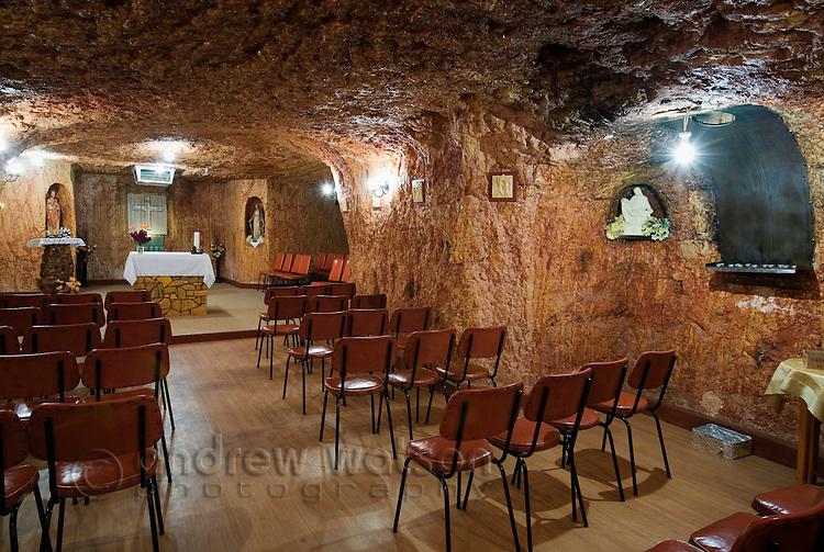 St Peter and Paul Catholic Church.  The church is one of five underground churches in the outback town of Coober Pedy, South Australia, AUSTRALIA.