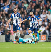 Brighton & Hove Albion's Neal Maupay (right)  holds off the challenge from Tottenham Hotspur's Erik Lamela (left)<br /> <br /> Photographer David Horton/CameraSport<br /> <br /> The Premier League - Brighton and Hove Albion v Tottenham Hotspur - Saturday 5th October 2019 - The Amex Stadium - Brighton<br /> <br /> World Copyright © 2019 CameraSport. All rights reserved. 43 Linden Ave. Countesthorpe. Leicester. England. LE8 5PG - Tel: +44 (0) 116 277 4147 - admin@camerasport.com - www.camerasport.com