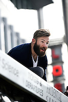 February 4, 2015 - Boston, Massachusetts, U.S. - New England Patriots wide receiver Julian Edelman (11) looks down at spectators during a parade held in Boston to celebrate the team's victory over the Seattle Seahawks in Super Bowl XLIX. Eric Canha/CSM