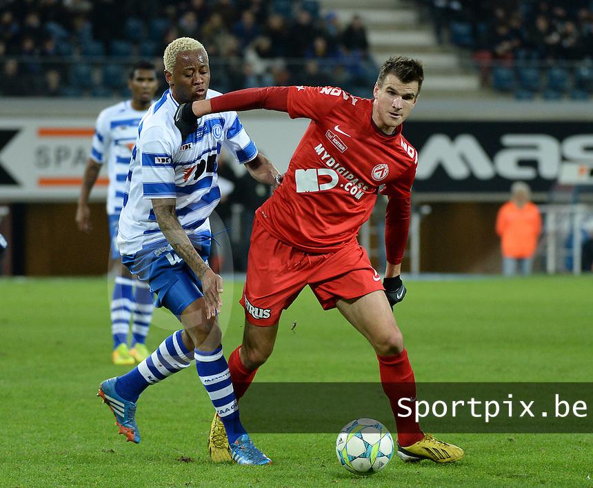 AA Gent - KV Kortrijk : Ivan Santini (rechts) in duel met Valery Nahayo (links)<br /> foto VDB / Bart Vandenbroucke