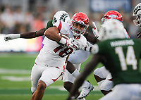 NWA Democrat-Gazette/CHARLIE KAIJO Arkansas Razorbacks tight end Jeremy Patton (18) runs the ball during the second quarter of a football game, Saturday, September 8, 2018 at Colorado State University in Fort Collins, Colo.