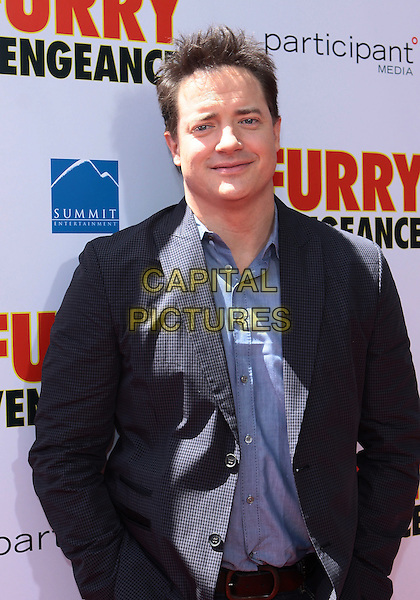 "BRENDAN FRASER .Los Angeles Premiere Of Summit Entertainment's ""Furry Vengeance"" held at The Mann Bruin Theatre, Westwood, California, USA, 18th April 2010..half length navy blue shirt jacket .CAP/ADM/TC.©T. Conrad/AdMedia/Capital Pictures."
