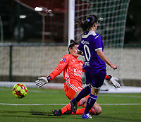 20190920 – LEUVEN, BELGIUM : OHL's goal keeper Louise Van Den Bergh is pictured stopping the goal attemp of Vatafu Stefania-Iulia during a women soccer game between Dames Oud Heverlee Leuven A and RSC Anderlecht Ladies on the fourth matchday of the Belgian Superleague season 2019-2020 , the Belgian women's football  top division , friday 20 th September 2019 at the Stadion Oud-Heverlee Korbeekdam in Oud Heverlee  , Belgium  .  PHOTO SPORTPIX.BE   SEVIL OKTEM