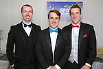 2/8/2014   (with compliments).          Alan's Sport Extravaganza Slick and Stylish Ball in the South Court Hotel, Limerick which was held in memory of Alan Feeley and in aid of the Irish Kidney Association(IKA).  Pictured are  from left Tom Cranley, Glenties, Donegal, Mark and David Egan, Claremorris, Co. Mayo<br /> Picture Liam Burke/Press 22