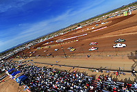 Apr 17, 2010; Surprise, AZ USA; The field of LOORRS pro lite unlimited drivers go past the main grandstand prior to taking the green flag during round 3 at Speedworld Off Road Park. Mandatory Credit: Mark J. Rebilas-US PRESSWIRE.