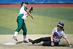 21 MAY 2016:  Second baseman Tiffany Hollingsworth (4) of Humboldt State University forces out Brooklyn Clark (8) of the University of North Alabama during the Division II Women's Softball Championship held at the Regency Athletic Complex on the Metro State University campus in Denver, CO.  North Alabama defeated Humboldt State 4-1 to win the national title.  Jamie Schwaberow/NCAA Photos
