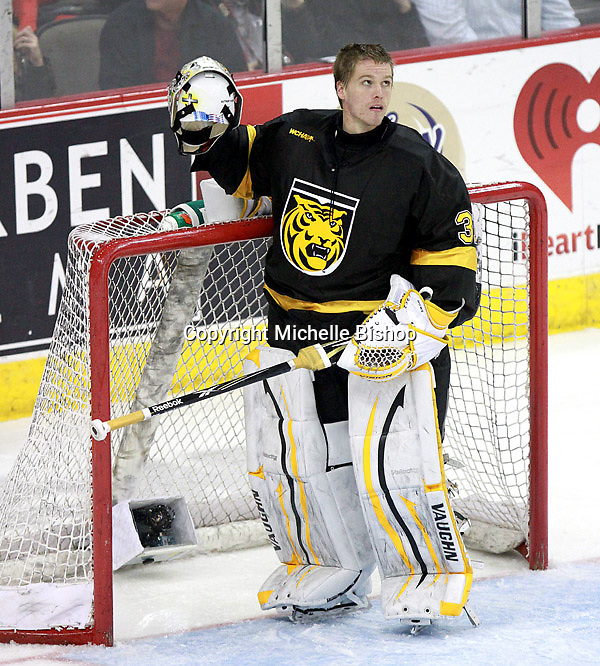 Colorado College goalie Joe Howe. Nebraska-Omaha defeated Colorado College 7-5 Friday night at CenturyLink Center in Omaha. (Photo by Michelle Bishop) .