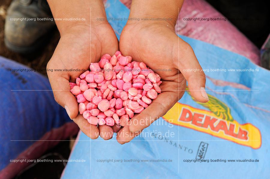 Afrika ANGOLA Malanje Black Stone Farm, eine 20.000 Hektar grosse Farm der chinesischen Firma CITIC construction corporation und der angolanischen Agentur Gesterra, die den Ausbau von Grossfarmen in Angola foerdert, Aussaat von Monsanto Dekalb Mais / ANGOLA Malanje Black Stone Farm, a 20.000 hectare farm of chinese company CITIC construction corporation and angolian agency Gesterra which promotes large scale farms in Angola, seeding of Monsanto hybrid maize