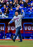 26 March 2018: Former Montreal Expo second baseman Jose Vidro waves to fans prior to an exhibition game between the St. Louis Cardinals and the Toronto Blue Jays at Olympic Stadium in Montreal, Quebec, Canada. The Cardinals defeated the Blue Jays 5-3 in the first of two MLB pre-season games in the former home of the Montreal Expos. Mandatory Credit: Ed Wolfstein Photo *** RAW (NEF) Image File Available ***