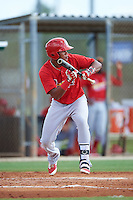 GCL Cardinals third baseman Starlin Balbuena (46) squares to bunt during the first game of a doubleheader against the GCL Marlins on August 13, 2016 at Roger Dean Complex in Jupiter, Florida.  GCL Cardinals defeated GCL Marlins 4-2 in a continuation of a game originally started on August 8th.  (Mike Janes/Four Seam Images)