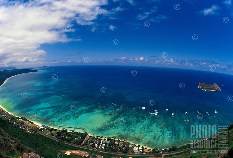 Aerial view of Waimanalo beach and rabbit island on Oahu's windward shoreline