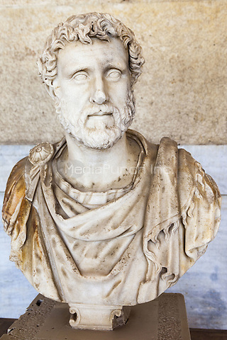 Bust of Emperor Antoninus Pius in Stoa of Attalos and Agora Museum, Ancient Agora of Athens, Athens, Greece <br /> CAP/MEL<br /> &copy;MEL/Capital Pictures /MediaPunch ***NORTH AND SOUTH AMERICA ONLY***