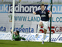 12/01/2008    Copyright Pic: James Stewart.File Name : sct_jspa02_falkirk_v_aberdeen.DARREN BARR CELEBRATES AFTER HE SCORES FALKIRK'S FIRST AS JAMES LANGFIELD LIES IN THE GOAL MOUTH...James Stewart Photo Agency 19 Carronlea Drive, Falkirk. FK2 8DN      Vat Reg No. 607 6932 25.Office     : +44 (0)1324 570906     .Mobile   : +44 (0)7721 416997.Fax         : +44 (0)1324 570906.E-mail  :  jim@jspa.co.uk.If you require further information then contact Jim Stewart on any of the numbers above.........