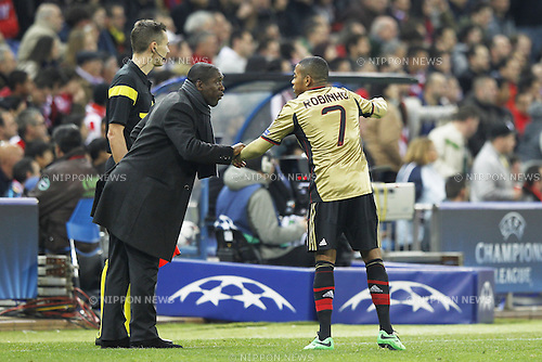 (L-R) Clarence Seedorf, Robinho (Milan), MARCH 11, 2014 - Football / Soccer : UEFA Champions League match between Atletico de Madrid and AC Milan at the Vicente Calderon Stadium in Madrid, Spain. (Photo by AFLO) [3604]