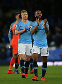 6th February 2019, Goodison Park, Liverpool, England; EPL Premier League Football, Everton versus Manchester City; Raheem Sterling of Manchester City applauds the visiting supporters after the final whistle
