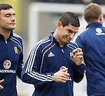 Graham Dorrans blowing on his imaginary saxophone at training