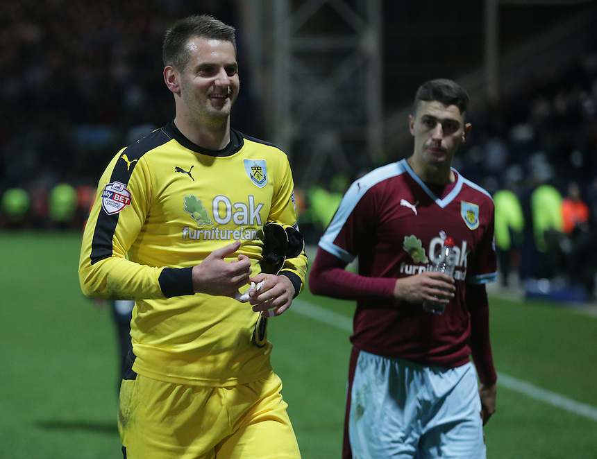 Burnley's Thomas Heaton walks off the pitch happy at the 1-0 win that puts them on top of the league<br /> <br /> Photographer Stephen White/CameraSport<br /> <br /> Football - The Football League Sky Bet Championship - Preston North End v Burnley - Friday 22nd April 2016 - Deepdale - Preston <br /> <br /> &copy; CameraSport - 43 Linden Ave. Countesthorpe. Leicester. England. LE8 5PG - Tel: +44 (0) 116 277 4147 - admin@camerasport.com - www.camerasport.com