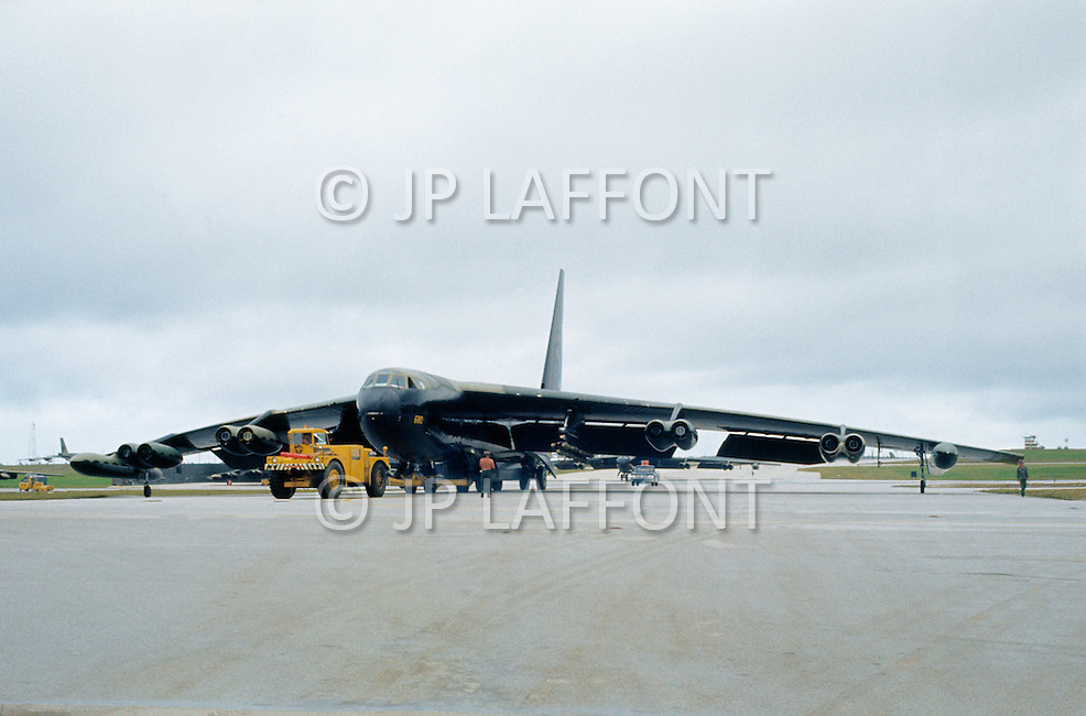 June 1972, Guam --- The Andersen Air Force Base on Guam Island from where the B-52 Stratofortress planes take off for Vietnam. A B-52 bomber on the runway of the Andersen Base. --- Image by © JP Laffont/Sygma/Corbis