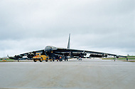 June 1972, Guam --- The Andersen Air Force Base on Guam Island from where the B-52 Stratofortress planes take off for Vietnam. A B-52 bomber on the runway of the Andersen Base. --- Image by © JP Laffont
