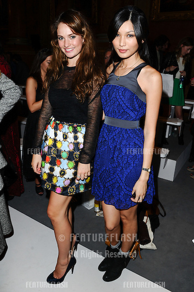 Lilly James and Gemma Chan attending the PPQ catwalk show as part of London Fashion Week SS13 at Goldsmith's Hall, London. 14/09/2012 Picture by: Steve Vas / Featureflash