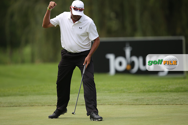 Wallie Coetsee (RSA) sinks his putt to hold for par and hold the lead of the field on the West Course during Round Two of the Joburg Open 2015 at the Royal Johannesburg & Kensington Golf Club, Johannesburg, Gauteng, South Africa. Picture:  David Lloyd / www.golffile.ie. 27/02/2015