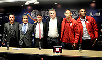 BOGOTÁ - COLOMBIA, 10-01–2019: Guillermo Sanguinetti (Izq.) técnico de Independiente Santa Fe (Izq.) Jorge Luis Pinto (2 Izq.) técnico de Millonarios, Oscar Gómez (Cent.) Vicepresidente Producción y Programación de Fox Sports Colombia, Paulo Autuori (Der.), técnico de Atlético Nacional,  Vladimir Galindo (2 Der.), preparador físico y Carlos Bejarano (Der.) guardavallas del América durante rueda de prensa del Torneo Fox Sports 2019, en el estadio Nemesio Camacho El Campin de la ciudad de Bogotá. /  Guillermo Sanguinetti (L) coach of Independiente Santa Fe (L) Jorge Luis Pinto (2 L) coach of Millonarios, Oscar Gómez (Cent.) Vice President Production and Programming of Fox Sports Colombia, Paulo Autuori (R), coach of Atletico Nacional, Vladimir Galindo (2 Der.), physical trainer and Carlos Bejarano (Der.) goalkeeper of the America during press conference of the Fox Sports Tournament 2019, in the stadium Nemesio Camacho El Campin of the city of Bogota.Photo: VizzorImage / Luis Ramírez / Staff.
