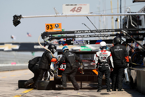 2017 IMSA WeatherTech SportsCar Championship<br /> Mobil 1 Twelve Hours of Sebring<br /> Sebring International Raceway, Sebring, FL USA<br /> Saturday 18 March 2017<br /> 93, Acura, Acura NSX, GTD, Andy Lally, Katherine Legge, Mark Wilkins, pit stop<br /> World Copyright: Michael L. Levitt/LAT Images