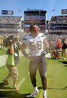 Sep. 20, 2009; San Diego, CA, USA; San Diego Chargers linebacker Shawne Merriman screams prior to the game against the Baltimore Ravens at Qualcomm Stadium in San Diego. Baltimore defeated San Diego 31-26. Mandatory Credit: Mark J. Rebilas-