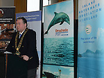 Mayor of Drogheda Paul Bell speaking at the launch of the new Drogheda Marina. Photo:Colin Bell/pressphotos.ie