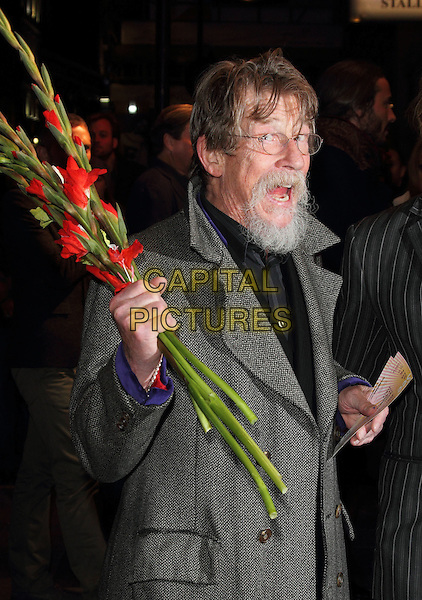 LONDON, ENGLAND - NOVEMBER 15: John Hurt at the 'Eat, Pray, Laugh!' - Barry Humphries Farewell Tour - Press Night at the London Palladium on November 15, 2013 in London, England. <br /> CAP/ROS<br /> &copy;Steve Ross/Capital Pictures