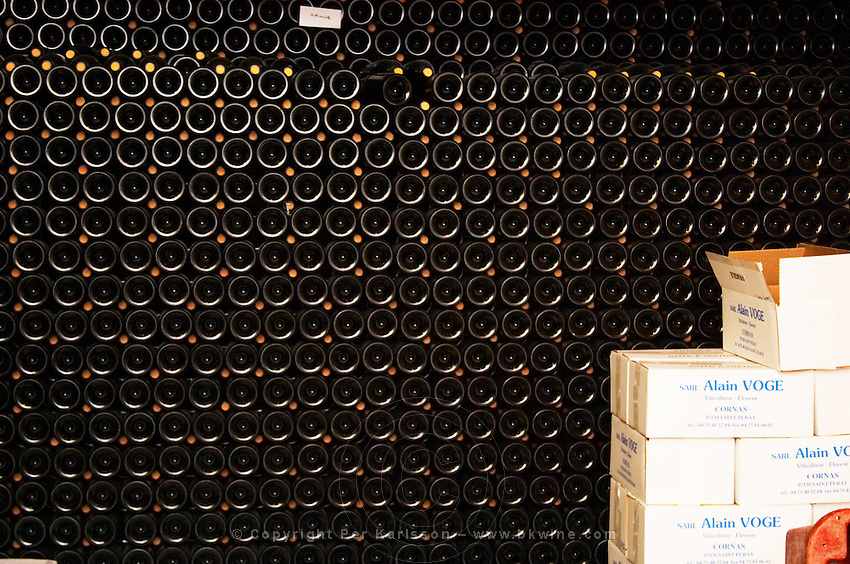 Stacks of bottles and boxes of Cornas wine. Alain Voge, Cornas, Ardeche, Ardèche, France, Europe
