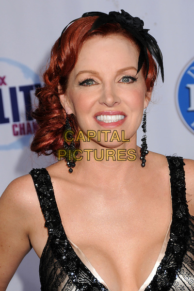 GRETCHEN BONADUCE.2009 Fox Reality Channel Really Awards held at the Music Box Theatre, Hollywood, California, USA..October 13th, 2009.headshot portrait black cleavage hair feather sequins sequined dangling earrings accessory piece .CAP/ADM/BP.©Byron Purvis/AdMedia/Capital Pictures.