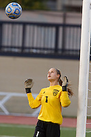 Penn keeper Sommer Domal eyes the ball during the IHSAA Class 2A Girls Soccer State Championship Game against Brebeuf Jesuit on Saturday, Oct. 29, 2016, at Carroll Stadium in Indianapolis. Special to the Tribune/JAMES BROSHER